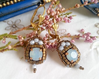 Paloma No.31/blue opal earrings / Bohemian/romantic/18th century/history/Duchess inspiration