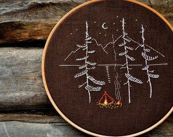 Camping embroidery pattern, Hand embroidery pattern, Digital Download, Adventure, Mountains, Embroidery pattern PDF by NaiveNeedle