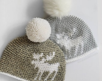 Crochet Pattern - Morgan Moose Silhouette Hat by Lakeside Loops (includes toddler, kids, and adult sizes)