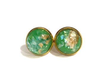 Lime Green Gold Leaf Earrings | Opalescent Gold Foil Earrings | Gold Foil Green Earrings | Green Gold Foil Earrings | Green Gold Leaf Studs