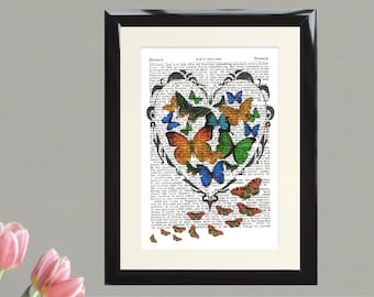 Dictionary Art Print Butterflies and Moths in a Heart Framed Vintage Poster Picture Handmade Original Artwork Book Page Gift