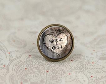 Épingle à cravate, mariage rustique, coeur Tie Tack, épinglette pour le marié, épingle personnalisé