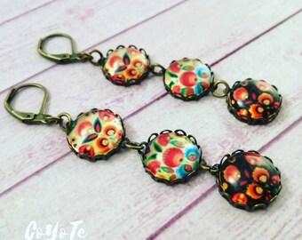 Folk earrings, cameo pendant earrings, glass cabochon, boho, Polish folk