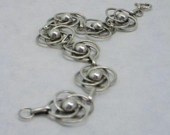 vintage silver bracelet stylized floral motif