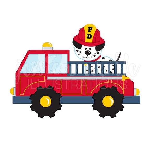 fire truck with dalmatian cute digital clipart fire truck rh etsy com fire truck clip art to color fire truck clipart free