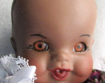 Adorable All BISQUE Baby DOLL Black Bisque