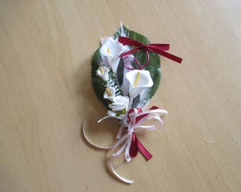 Brooch-wedding - Burgundy and white boutonniere
