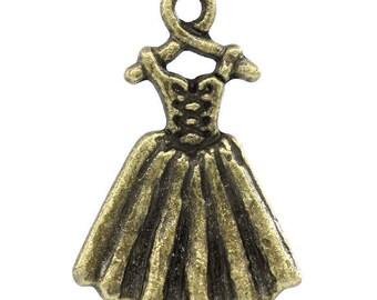 Set of 5 pendants charms 21x14mm wife wedding dress