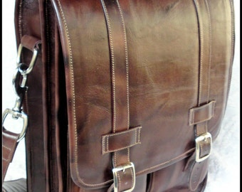 DIAZ Medium Geunine Leather Messenger Satchel / Backpack Laptop Bag in Antique Dark Brown - (15in MacBook Pro) - Free Shipping -