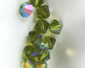 Swarovski vintage Olivine AB 6mm bicone beads.  12 PER ORDER