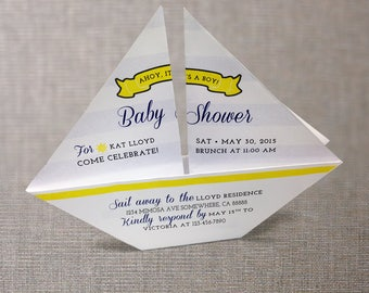 3D Nautical Invitation Origami Sailboat DIY