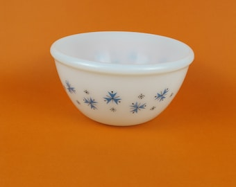 Phoenix Opalware Pyrex bowl 6.5 inches diameter, 3.5 inches deep - Blue and black snowflake/atomic sputnik design