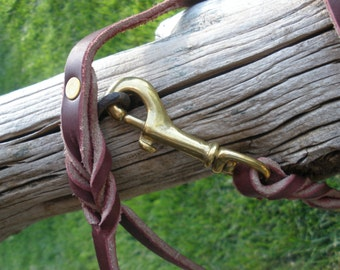 "Latigo leather dog leash 1/2"" X 48"", solid brass snap and rivets, great general use leash, or show leash"
