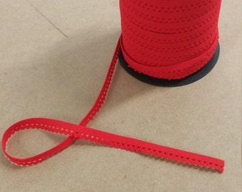 "Red scallop elastic trim - stretch 1/2"" elastic"