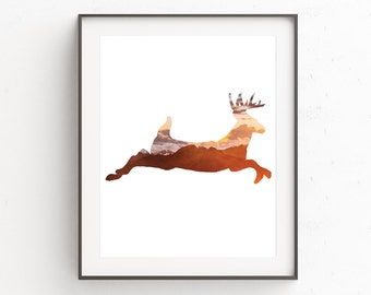 Woodland Nursery Wall Decor, Woodland Nursery Wall Prints, Nursery Animal Print Art, Deer Art Print, Childrens Room Wall Print, Artwork