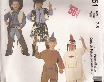 McCalls 2851 Child Cowboys and Indians Costume pattern Size 5-6