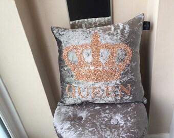 Crushed Velvet Cushion, Queen Crown Glitter Cushion Large, glitter cushion, personalised cushion, Crown Cushion