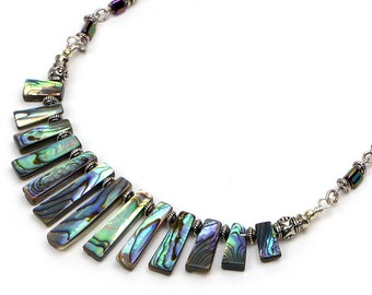 Abalone Shell Necklace, Paua Shell Jewelry, Beach Wedding Jewelry, Colorful Statement Necklace, Natural Jewelry, Tropical Gift for Her
