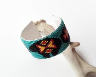 Turquoise Cuff Bracelet | Native American Beadwork Style | Beaded Cuff | Seed Bead Bracelet | Bead Loom Bracelet | Boho Bracelet | Zuni Bear