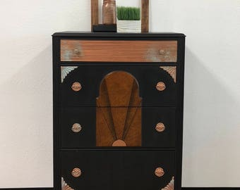 Art Deco Chest of Drawers - Refinished with Copper Patina