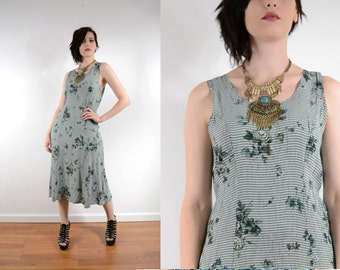 90s Green Gingham Maxi Dress w/ Floral Print Sleeveless Dress Boho // Xs Small