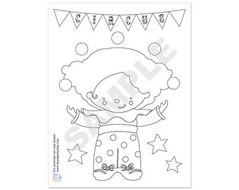 50% Off Sale! - PRINTABLE Circus Coloring Page - INSTANT DOWNLOAD