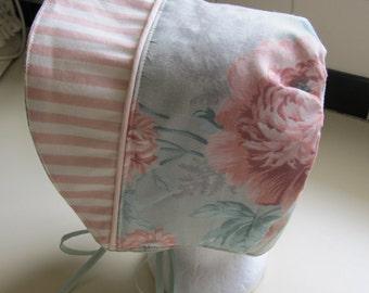 Cute Green and Pink Baby Girl Bonnet, Toddler Sun Bonnet, Sunbonnet for Easter, Baby Sun Hat, Cotton Bonnet,  12 mos Bon46