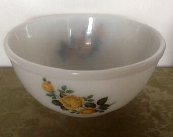 Phoenix Heatproof Glass Mixing Bowl. Yellow Rose Pattern. 1950's/60's.
