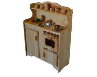 Waldorf child's Kitchen-Wooden Play Kitchen -Wooden Toy kitchen - Montessori Wooden Kitchen - Wooden toys- Play Food- Pretend Play-Kitchen