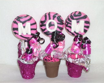 MOM Chocolate Blooming Letter flower pots