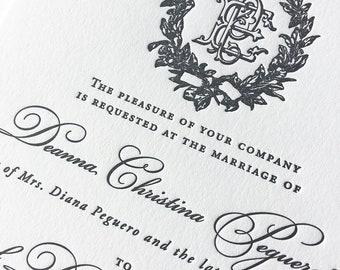 Victorian Magnolia Wreath letterpress wedding invitation in black