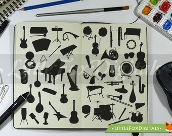 50 Musical Tools Instruments Silhouette Clipart Set Digital Illustration Scrapbook