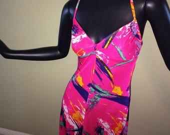 Vintage 60s 70s MOD Halter Maxi Dress 1960s 1970 Hippie Boho Psychedelic Bright Magenta Pink Swirl Festival Beach Swim Dress Swimwear Medium