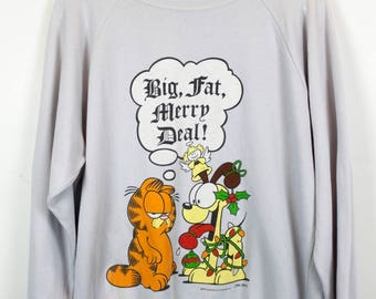Original Vintage GARFIELD Sweatshirt, 1978 by JIM DAVIS, grey, with print, 70s