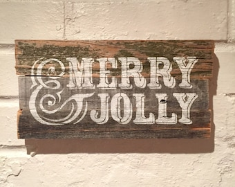 Merry & Jolly Holiday Reclaimed Wood Sign