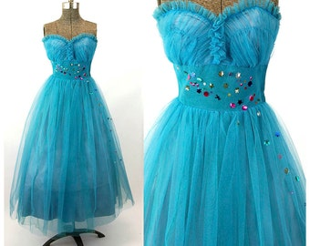 1950s prom dress tulle gown turquoise blue strapless with sequins Size S