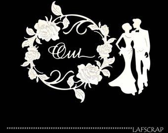Cuts scrapbooking scrap character married wedding wedding blush Word frame cut paper embellishment