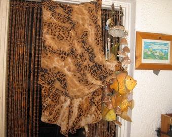 Beautiful Asymmetrical Leopard Print Layers Skirt, Vintage - Large