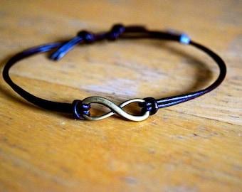 Infinity Bracelet, Leather Bracelet, Adjustable, Antique Bronze Infinity Charm, Infinite Love