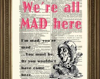 "MAD HATTER PRINT: Alice in Wonderland Original Vintage Antique Dictionary Art Print (8 x 10"")"