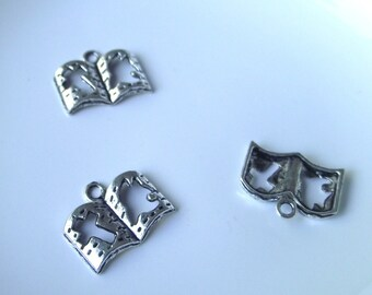 Book pendant Components 3 piece 24mm  star set dark silver Component Destash