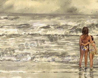 """Sisters, Friends, Crescent Beach Florida, Vacation, Seashore Children Watercolor Painting Print, Wall Art, Home Decor, """"Summer Sisters"""""""