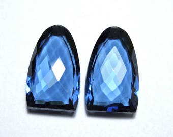 2 Pcs Very Attractive Kayanite Blue Quartz Faceted One Side Checker and One Side Table Cut Fancy Shaped Loose Gemstone Beads Size 24X15 MM
