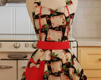 Apron Christmas Recipes on Black MAGGIE Retro Full Apron