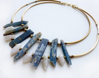 Kyanite collar//Moonstone teardrops//White opal//brass collar//statement necklace//bridal jewelry//gift for wife//wedding inspiration//ooak