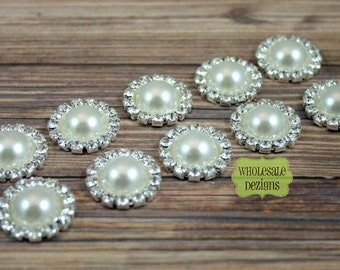 Pearl and Rhinestone Button - Metal Base - 18 mm Round Buttons - Flat Back