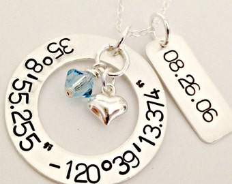 Custom Sterling Latitude Longitude Necklace with Date Disc - Personalized Hand Stamped Coordinates Jewelry, Puffy Heart & Swarovski Crystal