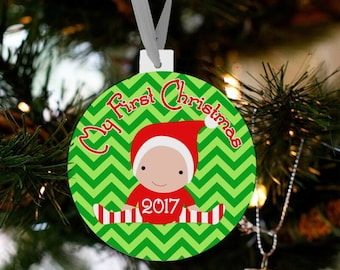 My first Christmas baby custom ornament - great new baby Christmas gift FCBO