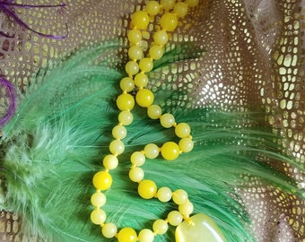 Chunky, Bold Yellow Jade Necklace