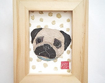 Pug Art, Pug Gift, Pug Dog, ACEO Original, Pug Decor